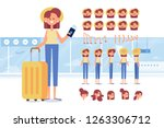 traveler girl with tickets and... | Shutterstock .eps vector #1263306712