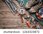 overhead view of camping gear... | Shutterstock . vector #1263323872