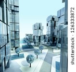 modern business city at morning ... | Shutterstock . vector #126333872