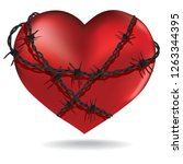red heart  with barbed metal... | Shutterstock .eps vector #1263344395