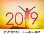 2019 text background for happy... | Shutterstock . vector #1263372805