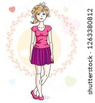 young beautiful blonde woman...   Shutterstock .eps vector #1263380812