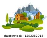 scenic landscape of farm...   Shutterstock .eps vector #1263382018