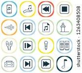 audio icons set with backward...