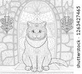 Stock vector ornamental cat for coloring at is sitting on the background of the stained glass window in the 1263427465