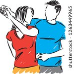 young couple man and woman... | Shutterstock .eps vector #1263449965