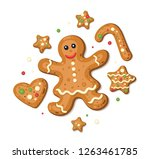 holiday gingerbread woman... | Shutterstock .eps vector #1263461785