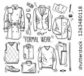 hand drawn set of men's formal... | Shutterstock .eps vector #1263480118