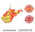 strike action collage of... | Shutterstock .eps vector #1263520732