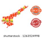 strike action collage of... | Shutterstock .eps vector #1263524998