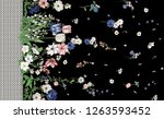 flowers fashion fabric pattern | Shutterstock . vector #1263593452