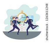 businessmen with clock in... | Shutterstock .eps vector #1263611248