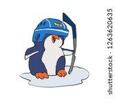 penguin playing ice hockey...   Shutterstock .eps vector #1263620635