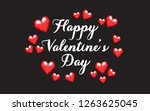 valentine 3d small and big red... | Shutterstock .eps vector #1263625045