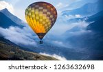 colorful hot air balloon flying ... | Shutterstock . vector #1263632698