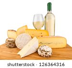 board with cheeses and white wine - stock photo