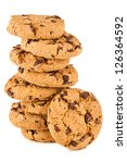 stack of chocolate cookies in front of white background - stock photo
