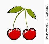 two sweet cherries  vector... | Shutterstock .eps vector #126364868