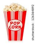 Popcorn In Box On White...