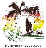 vintage surf scene with rider... | Shutterstock .eps vector #126366098