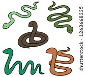 vector set of snakes | Shutterstock .eps vector #1263668335
