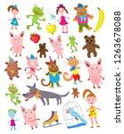 Set Of Cartoon Animals In...