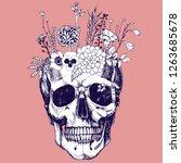 flower vase made in skull ....   Shutterstock .eps vector #1263685678
