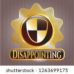 golden badge with shield ... | Shutterstock .eps vector #1263699175