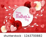 happy mother's day with rose...   Shutterstock .eps vector #1263700882