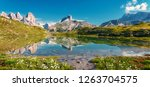 awesome alpine highlands in... | Shutterstock . vector #1263704575