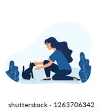 Stock vector cute girl take care of stray cat on the street young girl sitting and touch domestic cat outdoor 1263706342