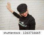 portrait of a beautiful blonde... | Shutterstock . vector #1263716665
