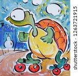 Funny Cartoon Turtle On Roller...