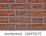 Old Red Brick Wall Close Up