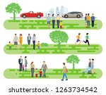 people and families in the park.... | Shutterstock .eps vector #1263734542