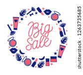 big sale line lettering. round... | Shutterstock .eps vector #1263735685