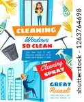 window cleaning home and rope... | Shutterstock .eps vector #1263764698
