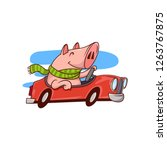 smiling pig riding red car....   Shutterstock .eps vector #1263767875