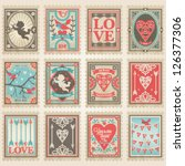 vector postage stamps set.... | Shutterstock .eps vector #126377306