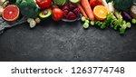 organic food on a black stone...