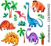 seamless pattern with cartoon...   Shutterstock . vector #1263844432