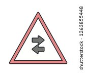 vector two way traffic crosses... | Shutterstock .eps vector #1263855448