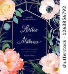 floral wedding invitation.... | Shutterstock .eps vector #1263856792