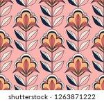 seamless retro floral pattern | Shutterstock .eps vector #1263871222