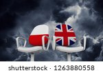 Stock photo poland and great britain business chairs internationl relationship concept d rendering 1263880558
