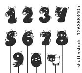 numbers with cartoon pig...   Shutterstock .eps vector #1263883405