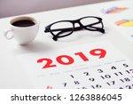 closeup of a calendar of 2019... | Shutterstock . vector #1263886045