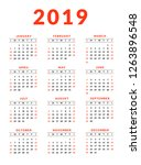 2019 calendar with marked red... | Shutterstock .eps vector #1263896548