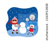 children and christmas snowman. ...   Shutterstock .eps vector #1263912838