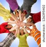 large group of smiling friends... | Shutterstock . vector #126395402